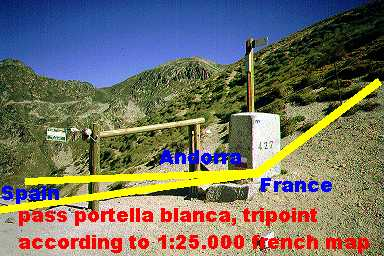 Map Of Spain France And Andorra.Andorra Tripoints